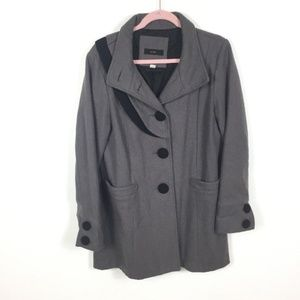 Lux Black Gray Wool Blend Button Peacoat Jacket L